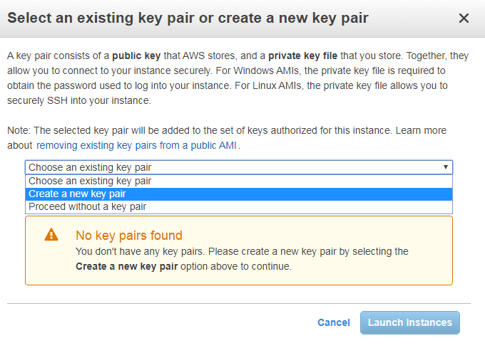 Create a new key pair