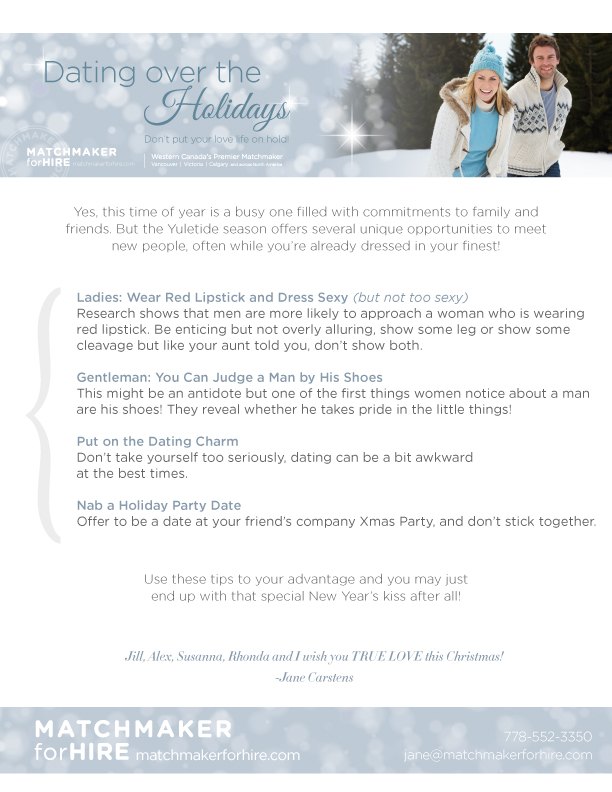 Holiday 2013 dating tips emailer and blog