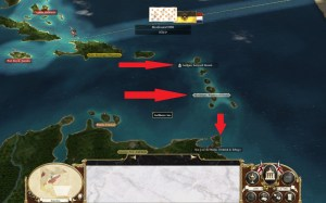 Britain's targets in its initial Caribbean offensive