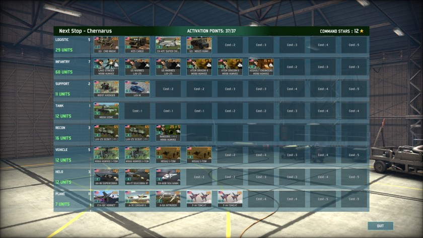 A finished deck: USMC ground forces supported by F-14s, A-6s, A-7s, and F/A-18s. Note the absence of any tank newer than the M60A1...