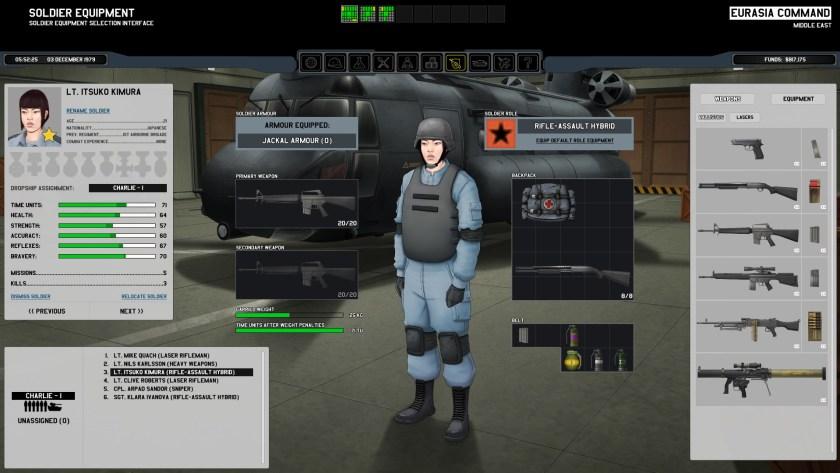 Xenonauts Squad Screen