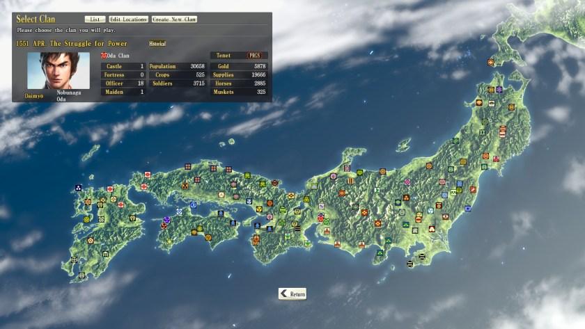 Nobunaga's Ambition - Map of Japan