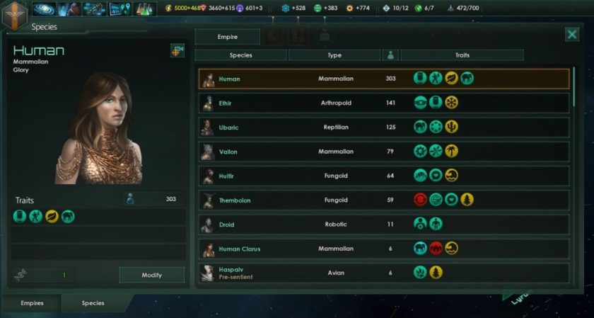 Stellaris species in empire