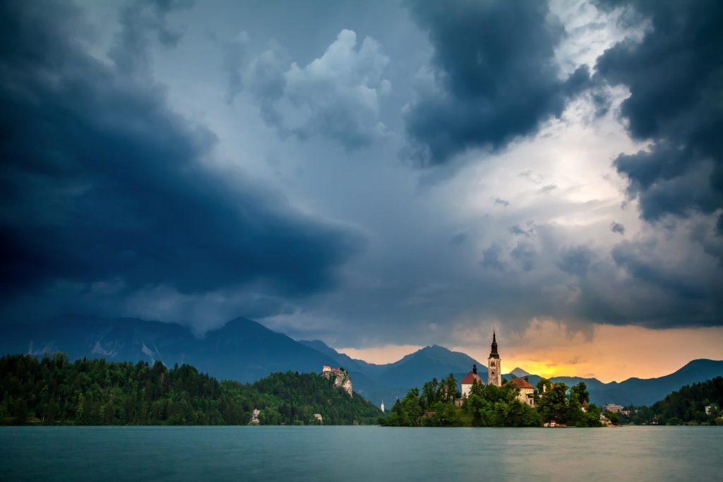 Bled lake during storm