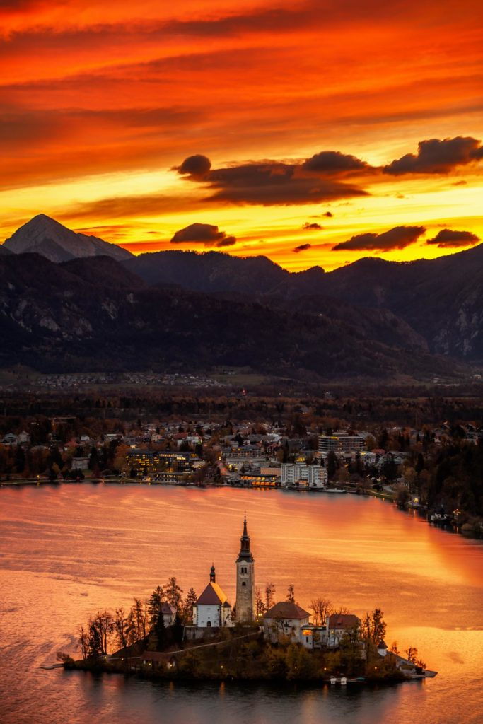 Sunrise over Bled island