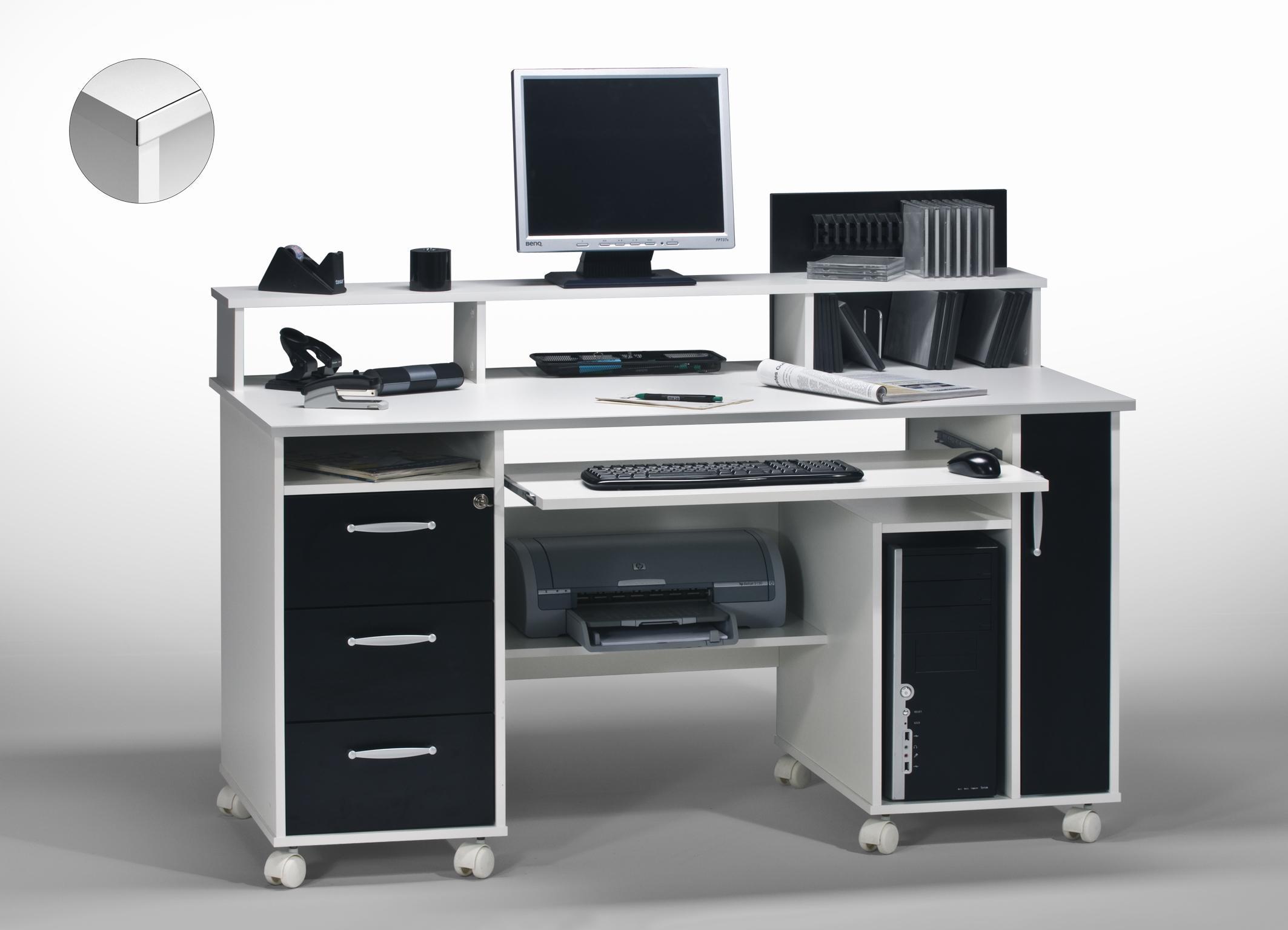 bureau informatique contemporain blanc noir andria