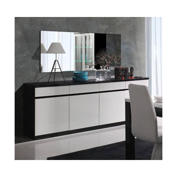buffet bahut design 4 portes laque noir blanc fabrizio