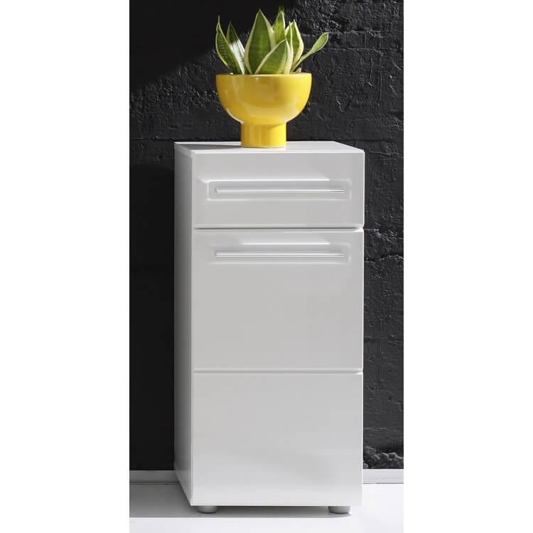 meuble bas de salle de bain 1 porte 1 tiroir laque blanc obra