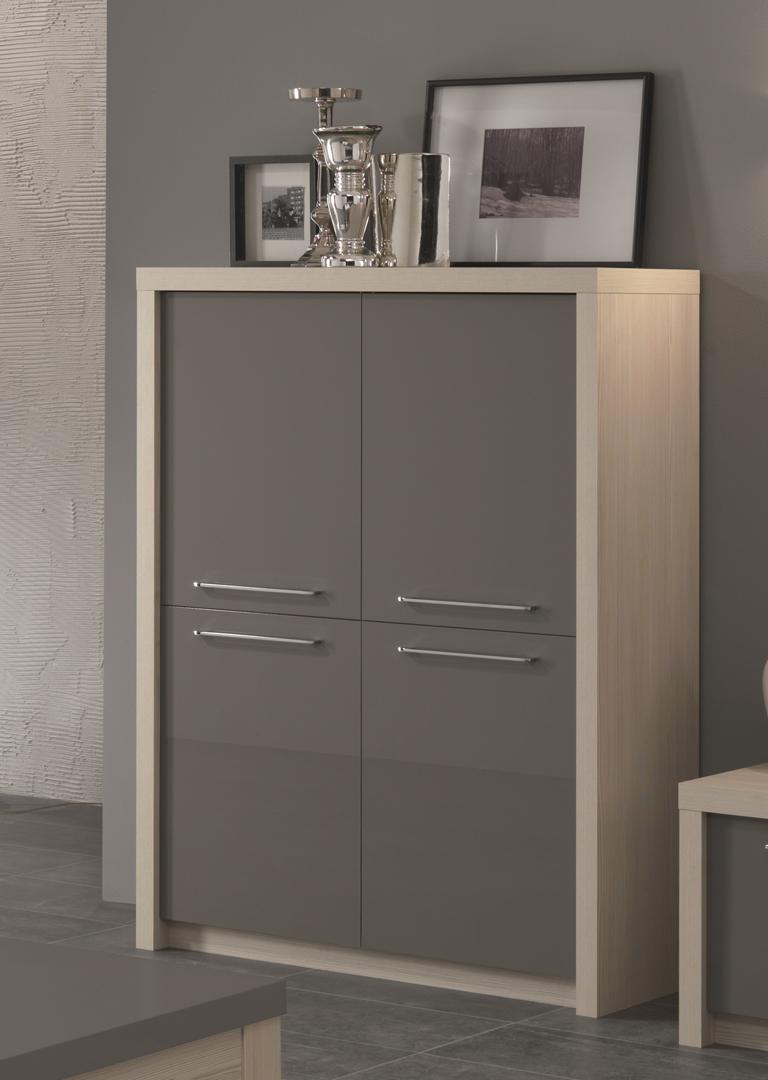 vaisselier argentier design portes pleines chene blanchi gris laque rosano