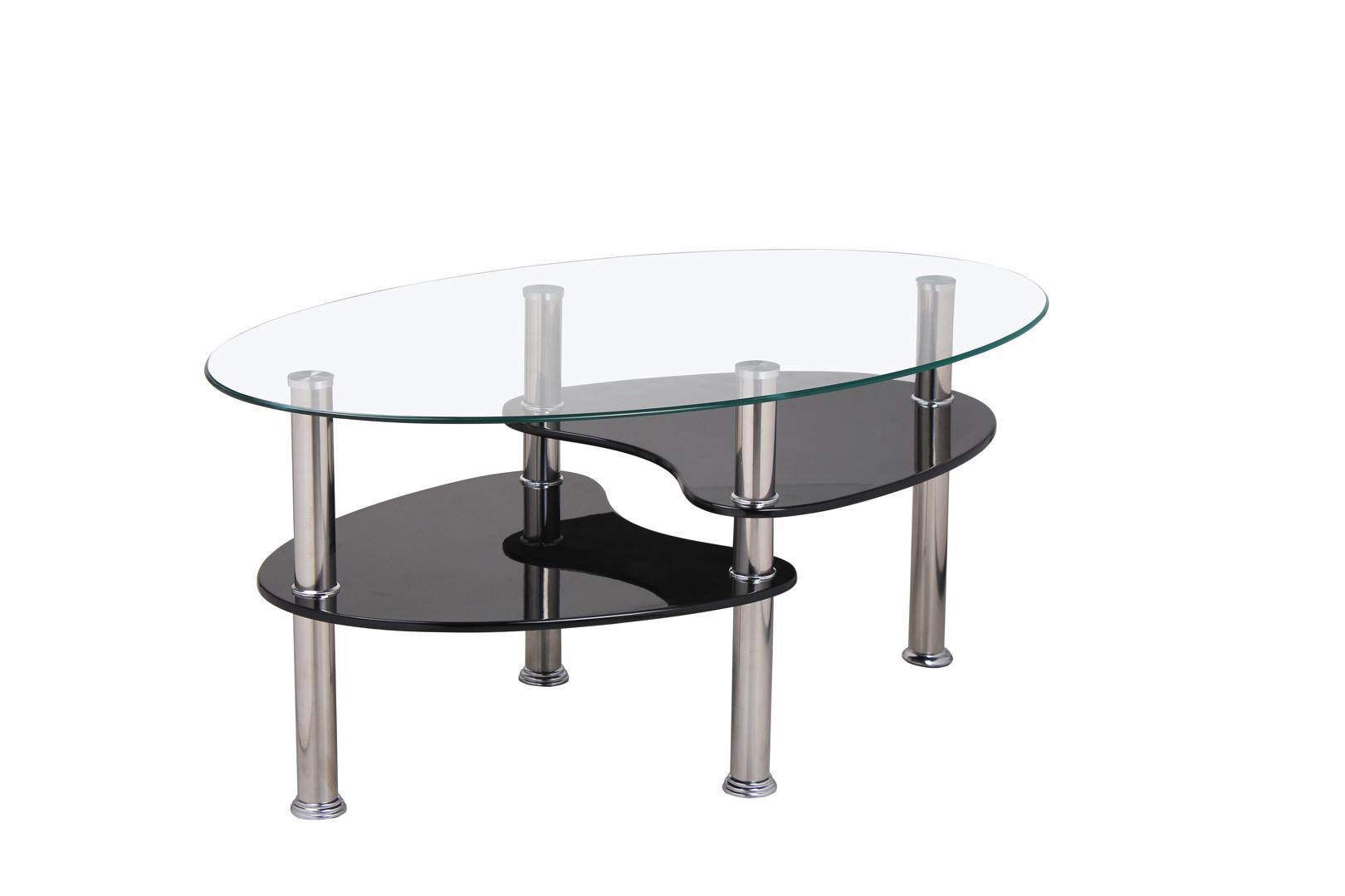 table basse design ovale en verre mdf noir konie