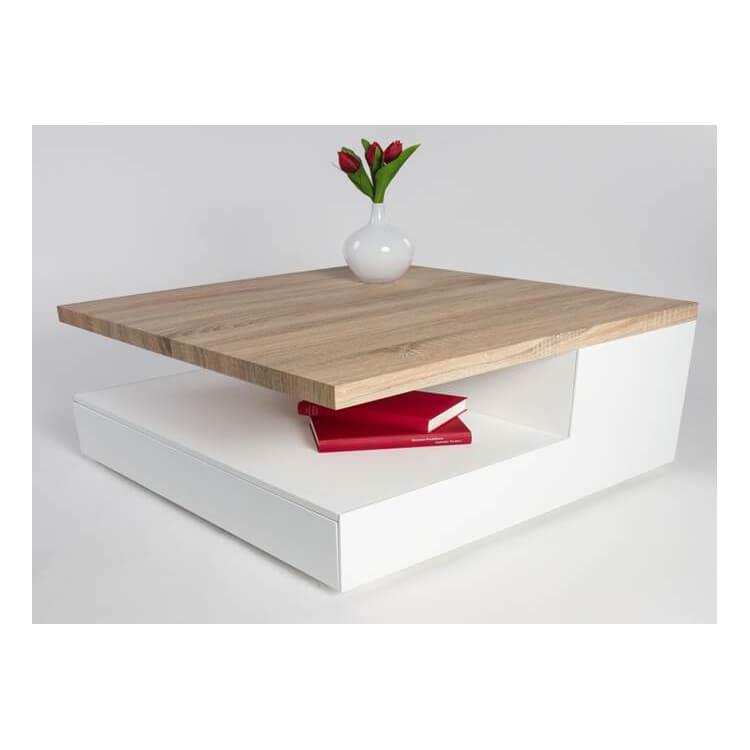 table basse design en bois blanc laque chene clair valero