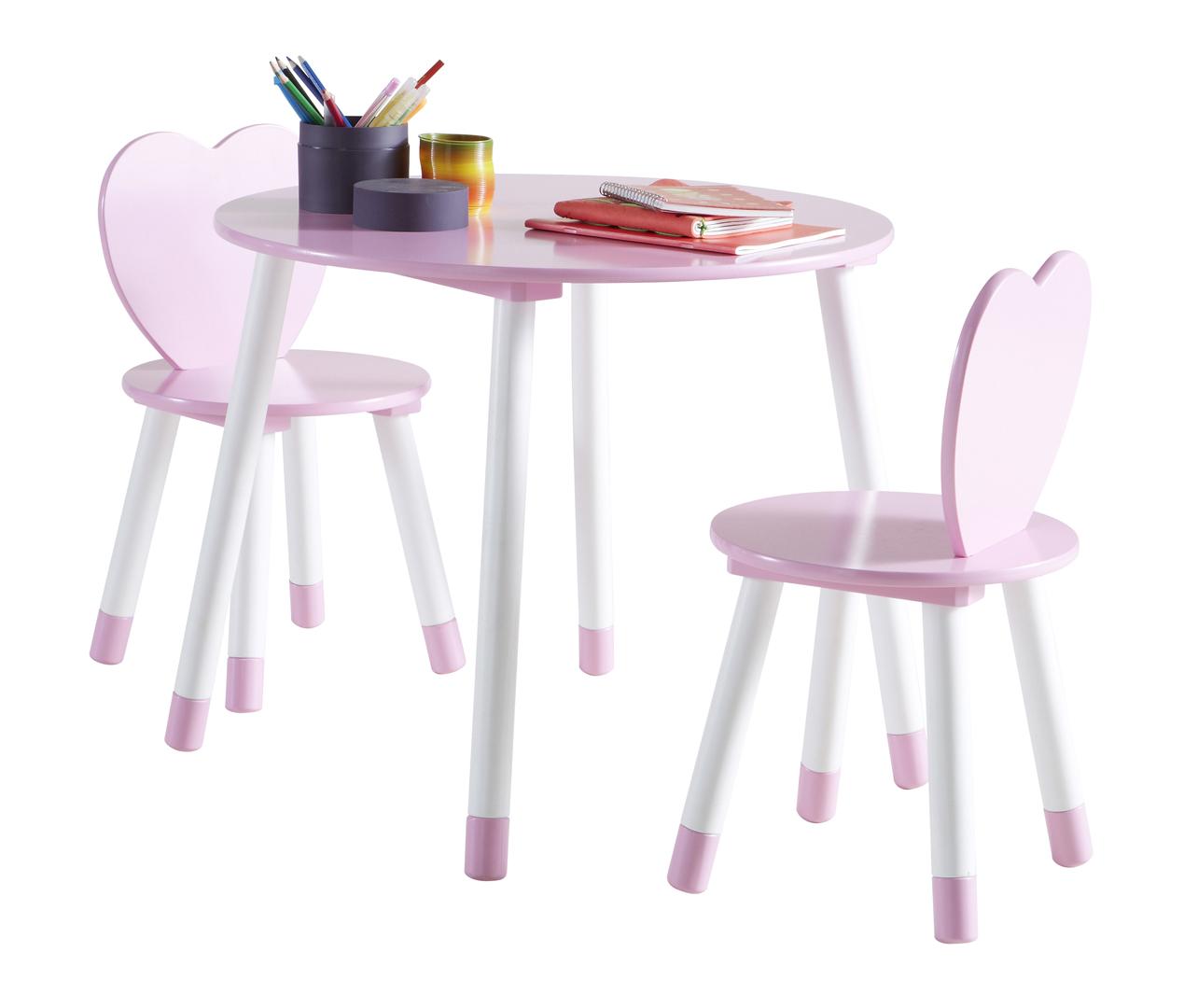 ensemble table et chaises enfant contemporain blanc rose aurore