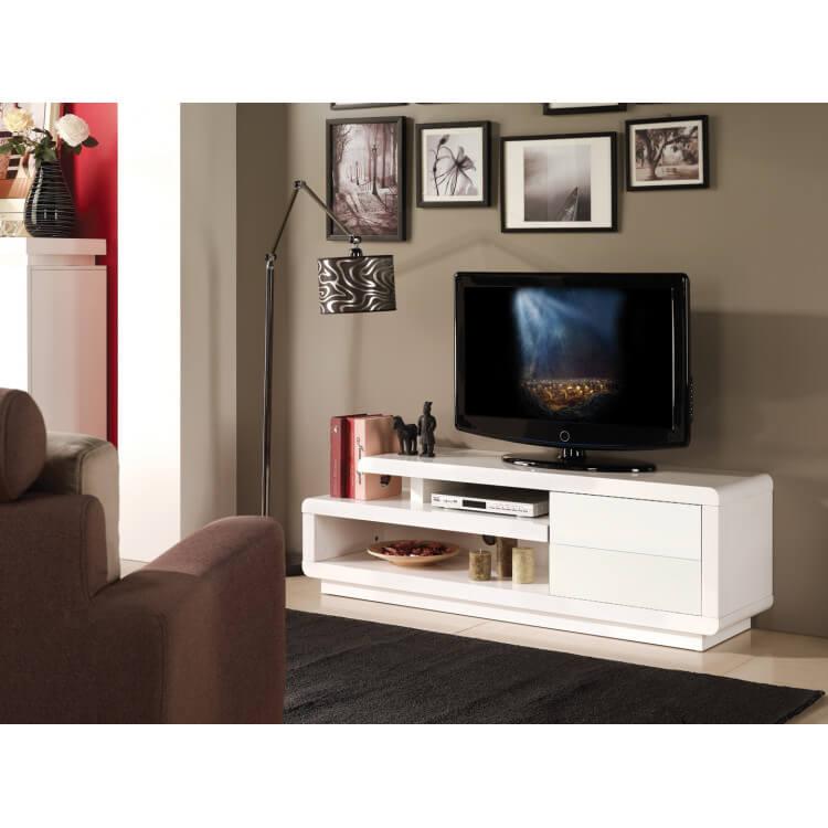 meuble tv design blanc brillant lydia