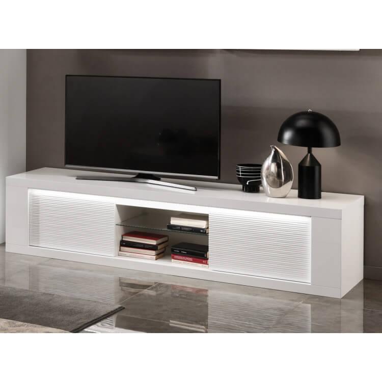 meuble tv design laque blanc avec eclairage 195 cm roselia