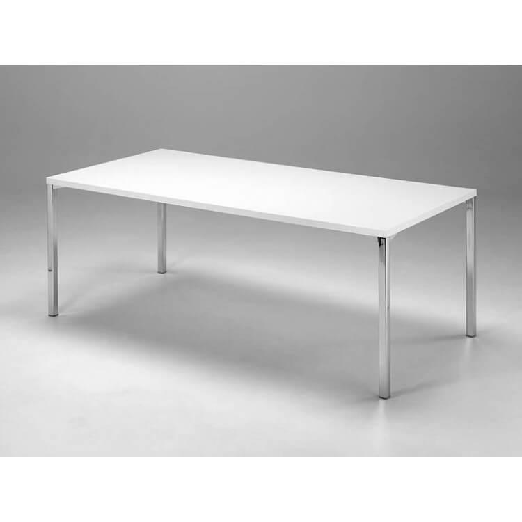 table de salle a manger design en metal chrome et bois blanc aurelia matelpro