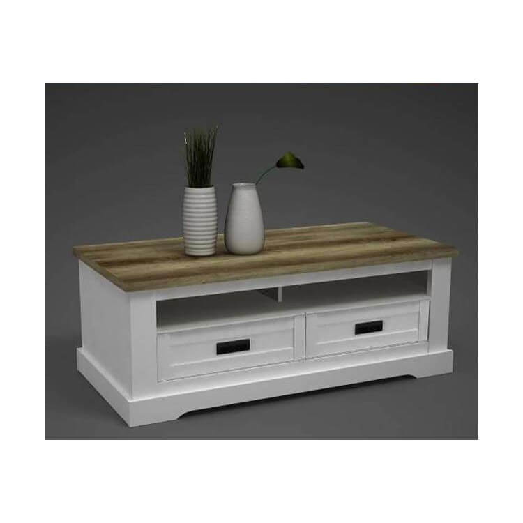 table basse rectangulaire style campagne pin blanc chene seoul