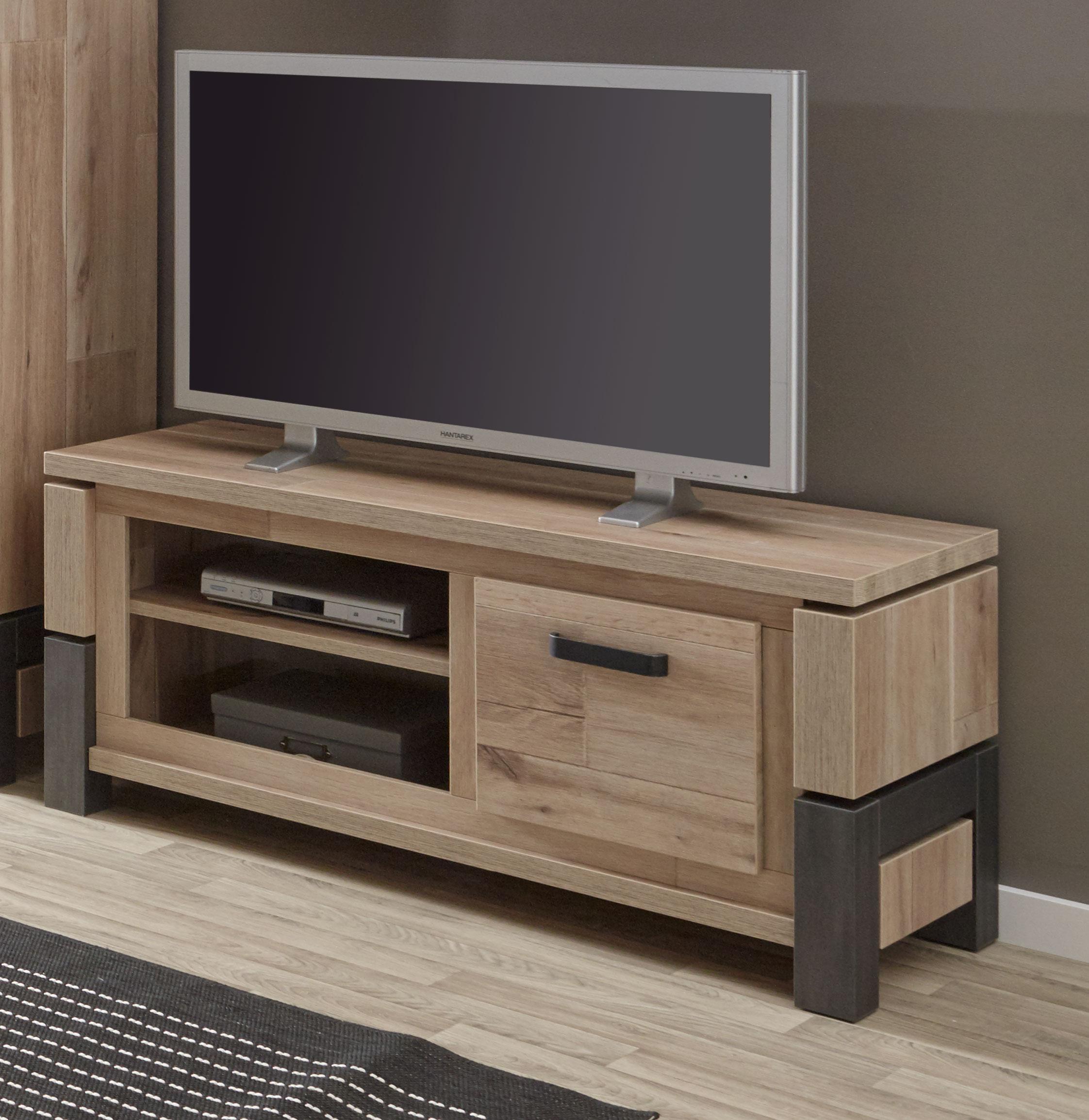 meuble tv contemporain 130 cm coloris vieux chene anthracite luciano