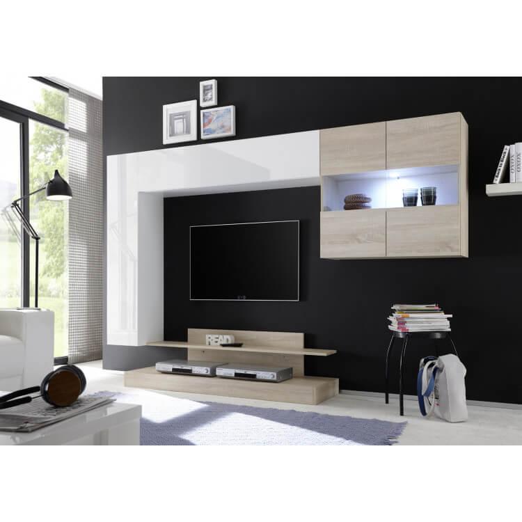 ensemble tv mural design blanc laque chene clair camargue