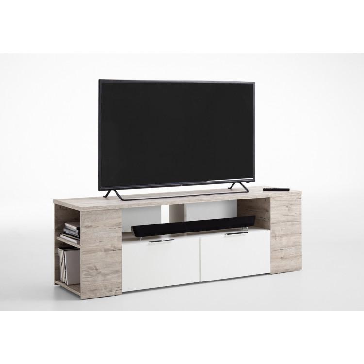 meuble tv contemporain 150 cm blanc chene sable silvio