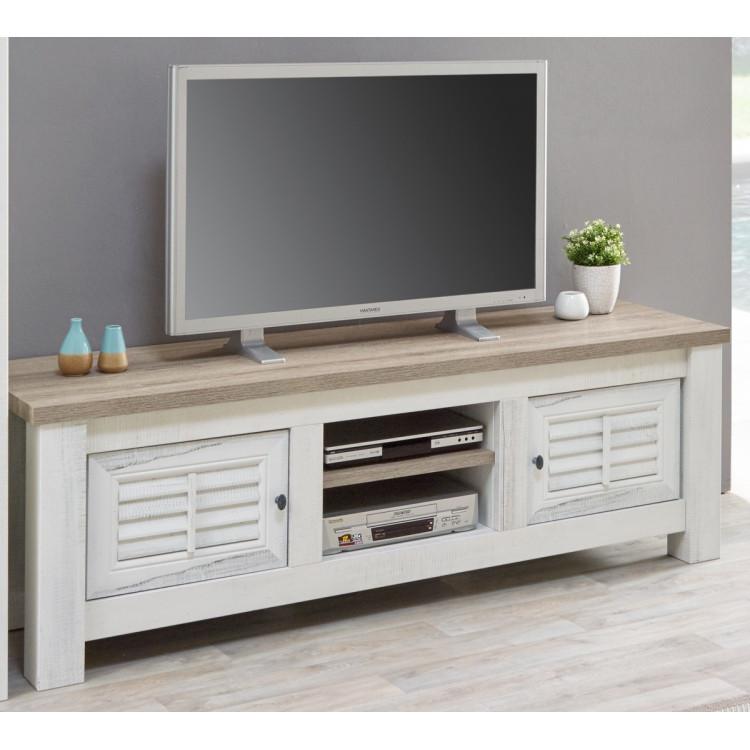 meuble tv contemporain coloris chene blanchi marron clair tapagos