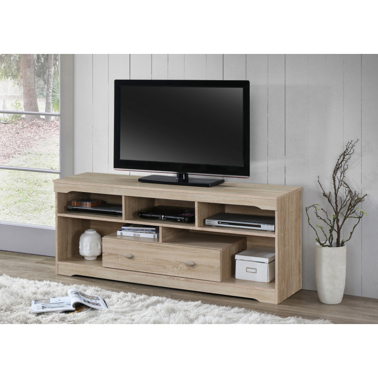 meuble tv contemporain coloris chene clair calvina