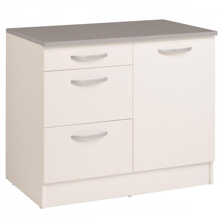meuble bas de cuisine contemporain 100 cm 1 porte 3 tiroirs blanc brillant bianco