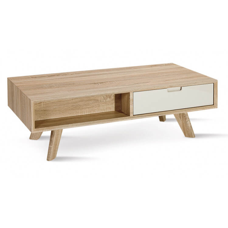 table basse contemporaine en bois chene clair blanc benoit
