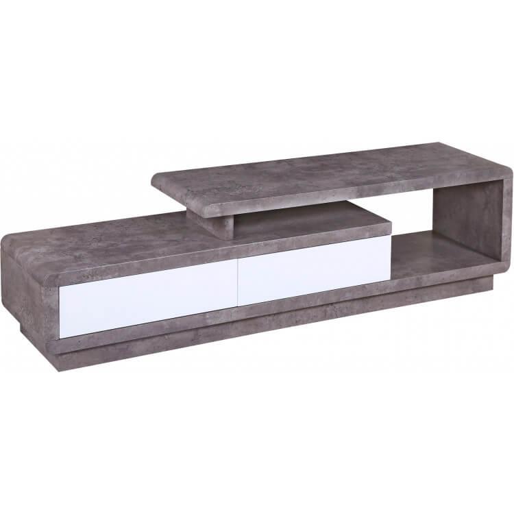 meuble tv contemporain en bois effet pierre ernest