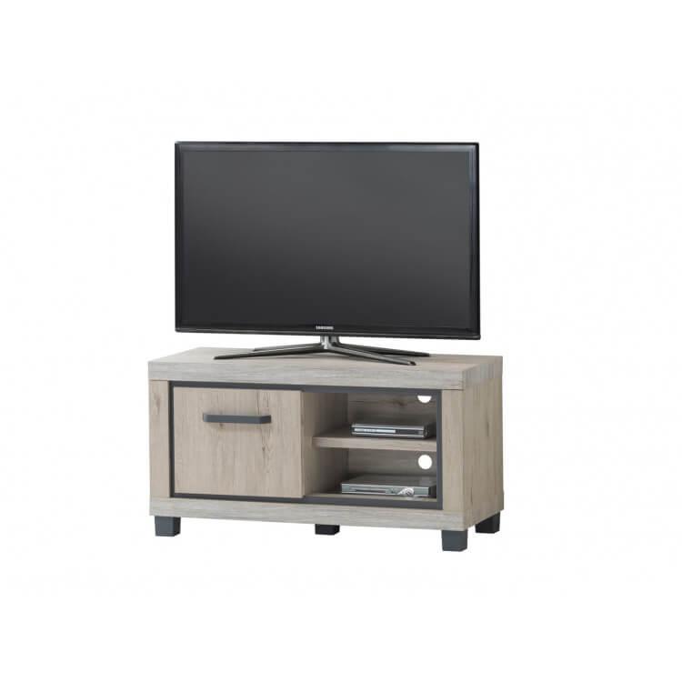 meuble tv contemporain 110 cm coloris chene clair freddy