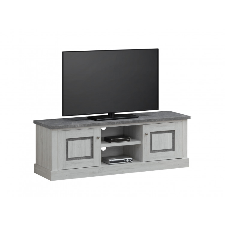 meuble tv contemporain chene clair gris beton emmanuelle