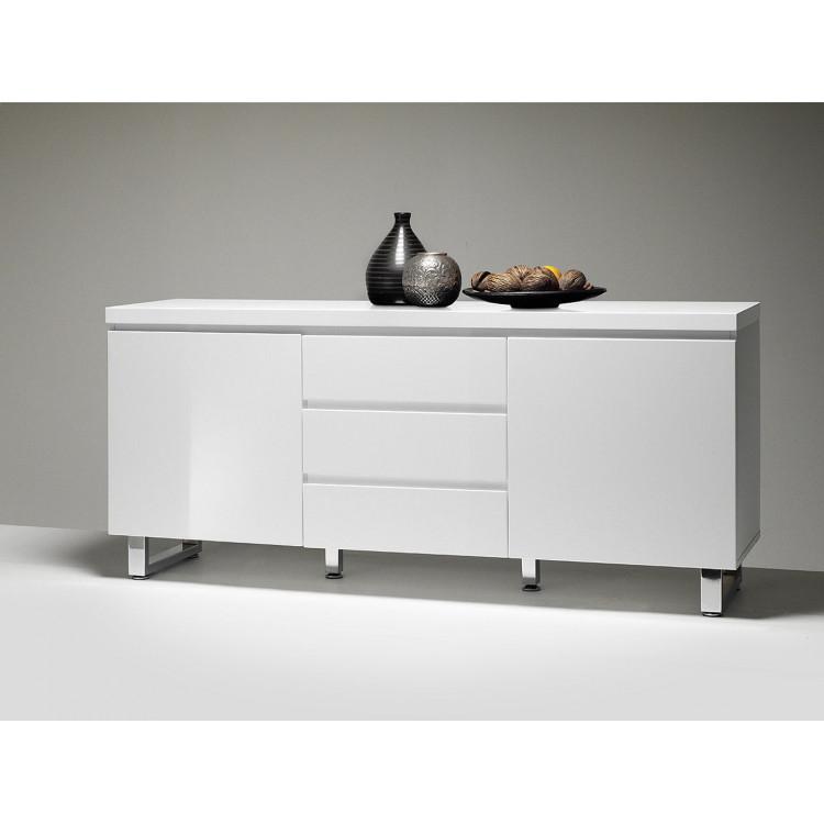 buffet bahut moderne blanc laque 167 cm rodney