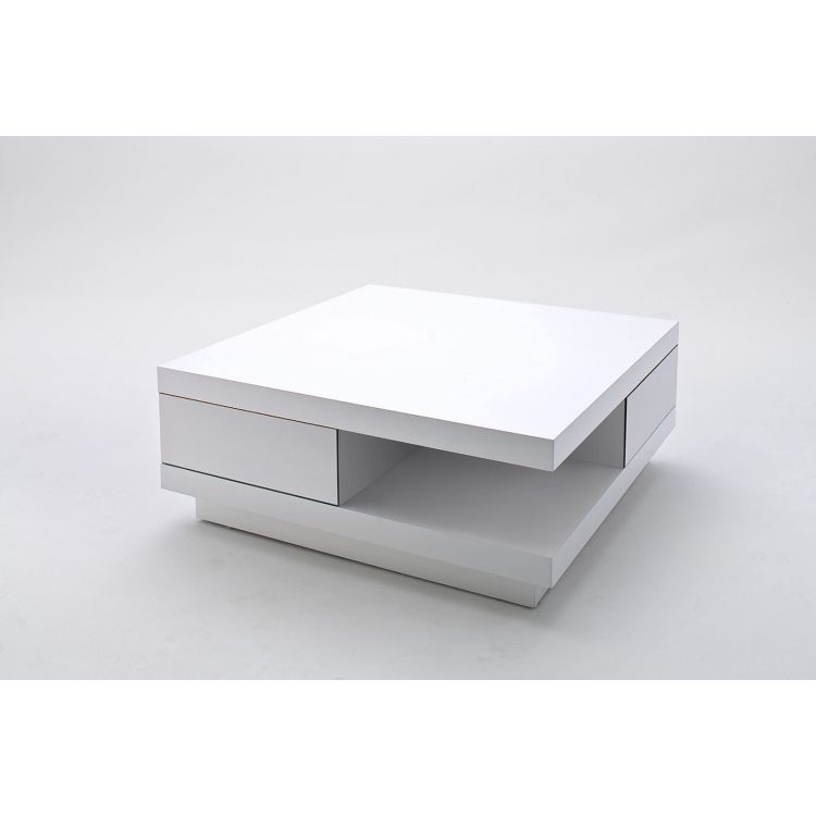 table basse moderne laquee blanche messaline