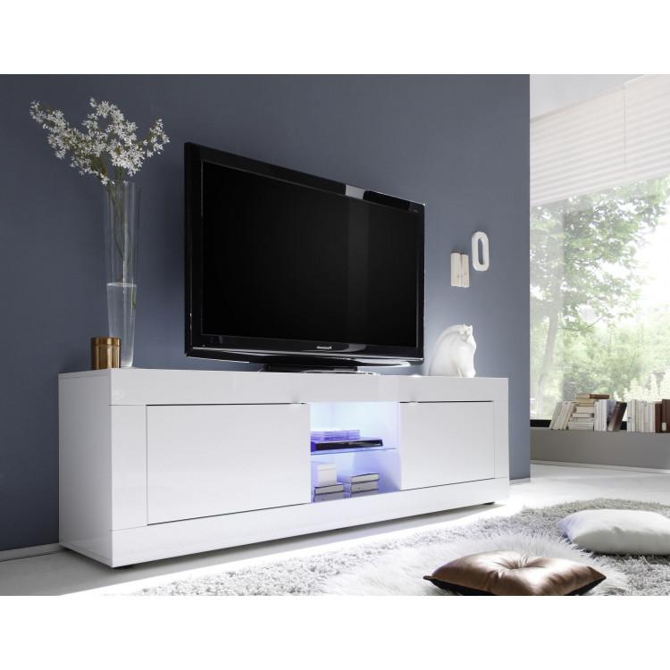 meuble tv moderne 181 cm blanc agathe