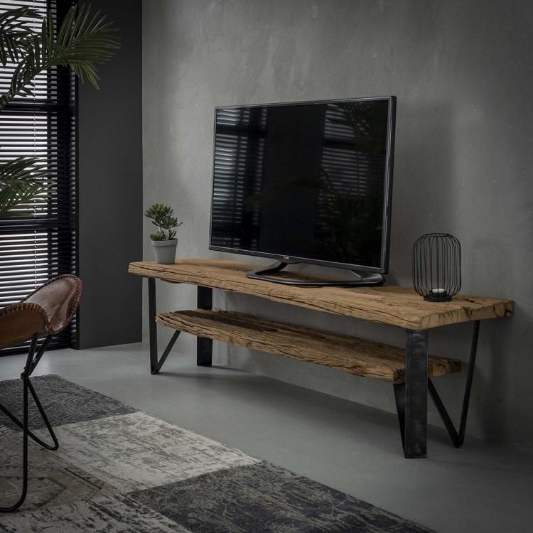 meuble tv industriel en bois 160 cm selenia