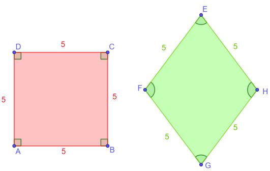Differenza tra quadrato e rombo