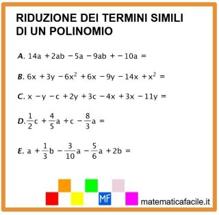 riduzione termini simili polinomio