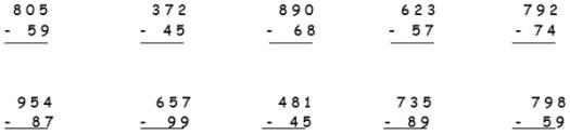 3. sınıf matematik çıkarma işlemi