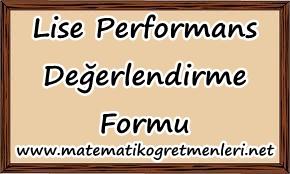 lise performans değerlendirme ölçeği