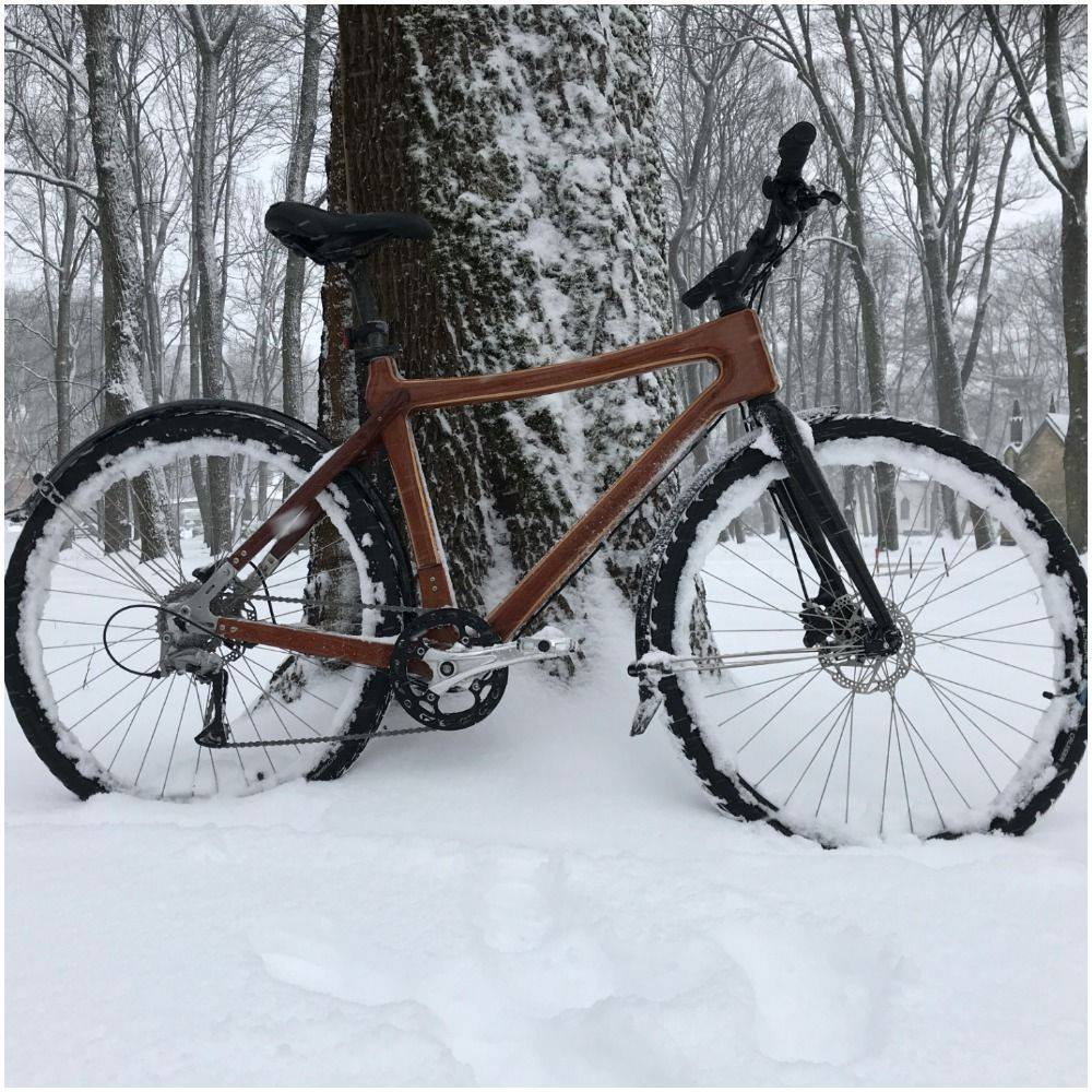 wooden bike winter