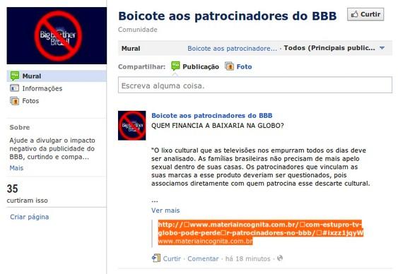 Boicote a patrocinadores do BBB no Facebook