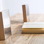 Alto-falantes em caixas acústicas Timbre de madeira e aço inox