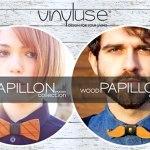 A moda casual de gravatas borboleta feitas com madeira reciclada