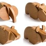 Bichos selvagens de madeira para montar como quebra-cabeças