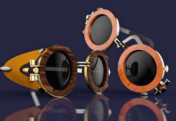 Óculos com aro de madeira