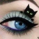 Gato preto dá sorte em maquiagem nas pálpebras dos olhos