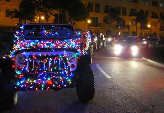 Carro enfeitado para o Natal