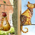 Esculturas de gatos de metal para decorar varandas e jardins