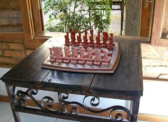 Jogo de xadrez na cor pérola