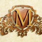 Monograma de metal ou MDF para parede de casa e escritório