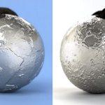 Pingentes Terra & Lua em relevo 3D com base em fotos da NASA